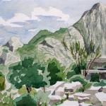 Bergwelt bei Termessos 1988 Aquarell auf Bütten 25x36cm