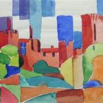 Burg Linn Krefeld 1990 Aquarell auf Bütten 15,5x22,5cm