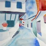 Dorfszene Samos 1994 Aquarell auf Bütten