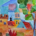 Feste Zons II Dormagen 1990 Aquarell auf Bütten 14,5x20,5cm