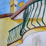 Fjordi Diamanti Fassade Albarella Italien 2004 Aquarell Zeichenstift Buntstifte auf Bütten 18x24