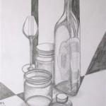 Flaschen Glaeser und Tintenfass Bleistift 1992