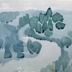 Flusslauf Studie 1978 - Aquarell auf Bütten