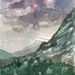 Gewitter über dem Taurusgebirge Antalya Türkei 1988 Aquarell auf Bütten 25x36cm
