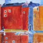 Hafen mit kleinen Booten 2007- Acryl