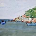Hafen Ireon Samos 1983 Aquarell auf Bütten