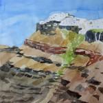 Imerovigli und die Gesteinsschichten der Caldera Santorin 2008 Aquarell auf Bütten 24x32cm