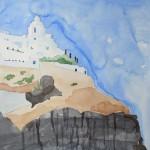 Kirche Agios Minas Thira Santorin 2008 Aquarell auf Bütten 24x32cm