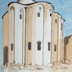 Kroatien Kirche 1977 - Aquarell auf Bütten