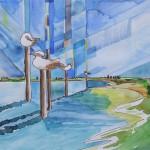 Lagune zur Insel Albarella Italien 2004 Aquarell Zeichenstift Buntstifte auf Bütten 19x28cm