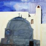 Oia Morgenlicht und Schatten Santorin 2008 Aquarell auf Bütten 24x32cm