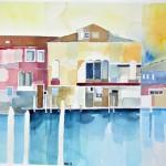 Palazzo am Wasser Jan-2014 Aquarell auf Bütten 56x38-cm