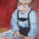 Philipp beim Malen 1986 - Öl auf Leinwand
