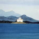 Samos Kapelle auf Insel 1983 Aquarell auf Bütten