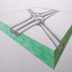 Schwebende Kreuzung Bleistift Buntstift 1994