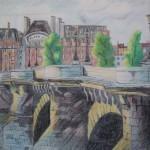 Seinebrücke Buntstifte 1991