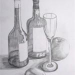 Stilleben Flaschen und Obst Bleistift 1992