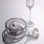 Stilleben mit Apfel und Knoblauch Bleistift 1992