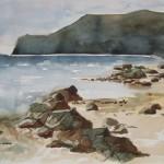 Studie Meereskueste Skopelos 1980 Aquarell auf Bütten