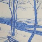 Süntelner Hochebene im Winter Tinte und Feder 1987