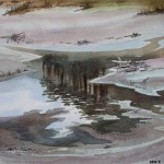 Tuempel im Wald 1987 Aquarell auf Bütten 23,5x31,5cm