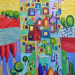 Wien Häuserzeile März April-2014 Acryl auf Leinwand 100x80cm