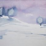 Winterlandschaft II 1993 Aquarell auf Bütten 16,5x24cm