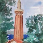 Yivli Minarett Antalya 1988 Aquarell auf Bütten 24x32cm