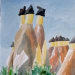 Zelve Anatolien Feenkamine Erosionsfiguren 1990 Aquarell auf Bütten 24x32cm