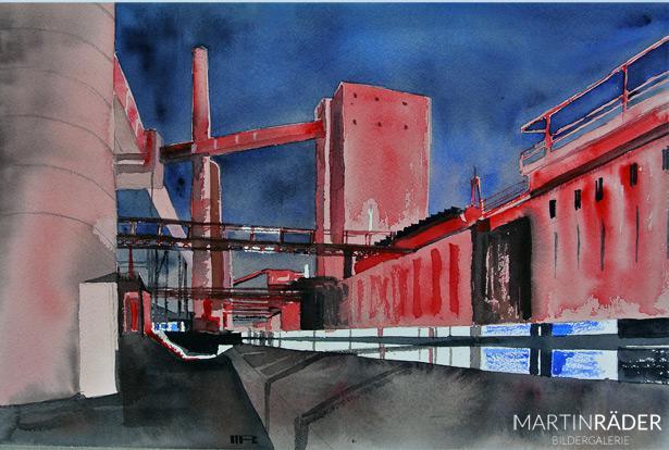 Himmel über der Ruhr, Essen Zollverein - Aquarell auf Bütten