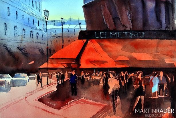 Cafe Metro Paris - Aquarell auf Bütten