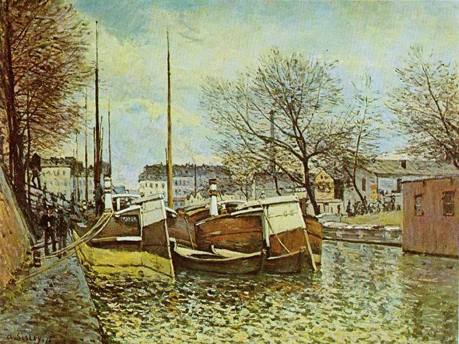 Alfred Sisley - Lastkähne auf dem Kanal St.Martin - Paris 1870 Öl auf Leinwand